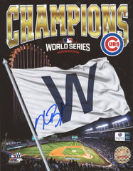 "Kris Bryant Chicago Cubs Signed Autographed 8"" x 10"" Wrigley Field Flag Photo Global COA"