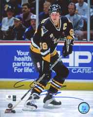 "Mario Lemieux Pittsburgh Penguins Signed Autographed 8"" x 10"" Puck Handling Photo Global COA"