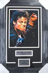 "Michael Jackson King of Pop 27"" x 18"" Framed Display with 11"" x 14"" Photo and Facsimile Autograph"
