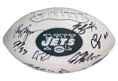 New York Jets 2014 Team Signed Autographed White Panel Logo Football Rex Ryan Geno Smith