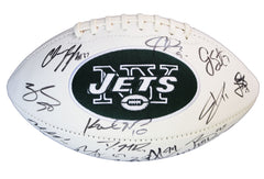 New York Jets 2015 Team Signed Autographed White Panel Logo Football AI COA