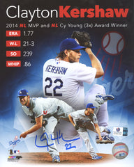 "Clayton Kershaw Los Angeles Dodgers Signed Autographed 8"" x 10"" 2014 MVP and Cy Young Award Winner Photo Global COA"