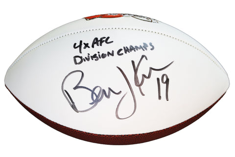 Bernie Kosar Cleveland Browns Signed Autographed White Panel Logo Football JSA COA Sticker Only