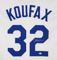Sandy Koufax Los Angeles Dodgers Signed Autographed White #32 Custom Jersey Pinpoint COA