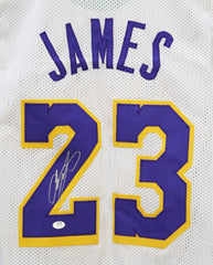 Lebron James Los Angeles Lakers Signed Autographed Custom White #23 Jersey CA COA