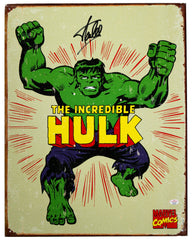"Stan Lee Signed Autographed 12.5"" x 16"" Marvel Comics The Incredible Hulk Retro Metal Tin Sign PAAS COA"