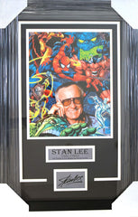 "Stan Lee 27-1/8"" x 18-1/8"" Framed Display with 11"" x 14"" Photo and Facsimile Autograph"