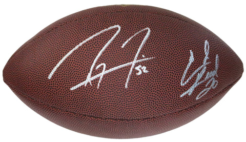"Ray Lewis and Ed Reed Baltimore Ravens Signed Autographed Wilson ""THE DUKE"" NFL Football Global COA"