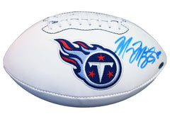 Marcus Mariota Tennessee Titans Signed Autographed White Panel Logo Football PAAS COA - FADED SIGNATURE