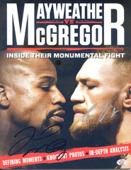 Floyd Mayweather Jr. and Conor McGregor Dual Signed Autographed Magazine PAAS COA