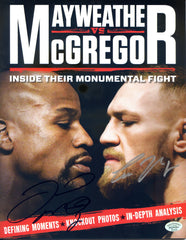 Floyd Mayweather Jr. and Conor McGregor Dual Signed Autographed Magazine Pinpoint COA