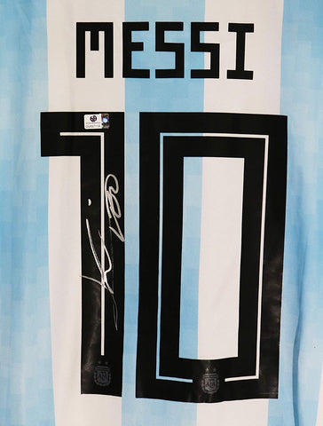 Lionel Leo Messi Signed Autographed Argentina #10 Blue White Striped Jersey Global COA