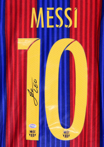 Lionel Messi Signed Autographed Barcelona #10 Blue Red Jersey PP COA