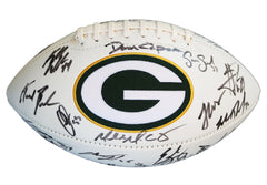 Green Bay Packers 2015 Team Signed Autographed White Panel Logo Football AI COA Rodgers Matthews