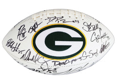 Green Bay Packers 2015 Team Signed Autographed White Panel Logo Football PAAS Letter COA Rodgers
