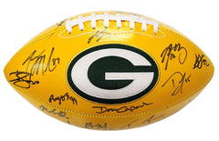 Green Bay Packers 2016 Team Signed Autographed Yellow Panel Logo Football AI COA Rodgers Matthews Nelson
