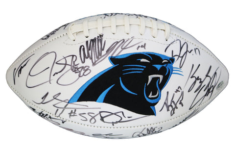 Carolina Panthers 2015 Team Signed Autographed White Logo Football PAAS COA Newton Kuechly