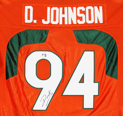 Dwayne The Rock Johnson Miami Hurricanes Signed Autographed Orange #94 Jersey Global COA