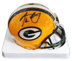 Aaron Rodgers Green Bay Packers Signed Autographed Football Mini Helmet Global COA