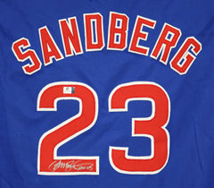 Ryne Sandberg Chicago Cubs Signed Autographed Blue #23 Custom Jersey Global COA