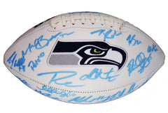 Seattle Seahawks 2016 Team Signed Autographed White Panel Logo Football AI COA - AUTOGRAPHS FADED