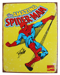 "Stan Lee Signed Autographed 12.5"" x 16"" Amazing Spider-Man Retro Metal Tin Sign PAAS COA"