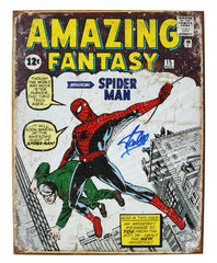 "Stan Lee Signed Autographed 12.5"" x 16"" Amazing Fantasy Spider Man Retro Metal Tin Sign PAAS COA"