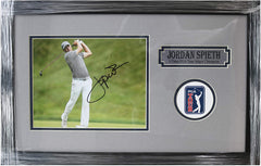 "Jordan Spieth Signed Autographed 22"" x 14"" Framed Swing Photo PP COA"
