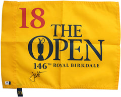 Jordan Spieth Signed Autographed 2017 British Open Championship Pin Flag Global COA