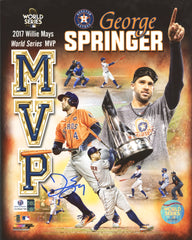 "George Springer Houston Astros Signed Autographed 8"" x 10"" 2017 World Series MVP Photo Global COA"