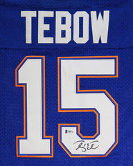 Tim Tebow Florida Gators Signed Autographed Blue #15 Custom Jersey Beckett COA