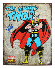 "Stan Lee Signed Autographed 12.5"" x 16"" Marvel Comics The Mighty Thor Retro Metal Tin Sign PAAS COA"