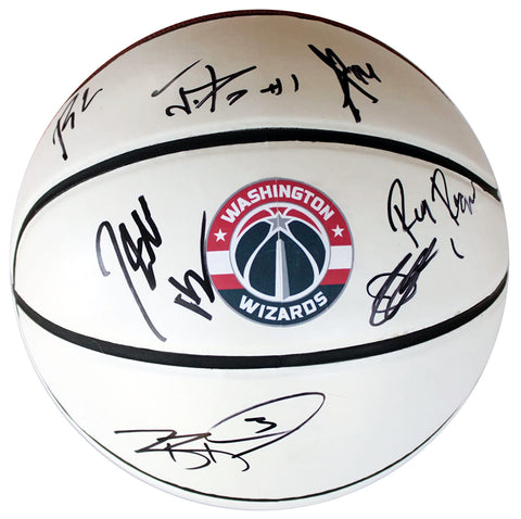 Washington Wizards 2015-16 Team Signed Autographed White Panel Basketball Global COA Wall Beal