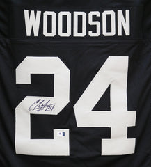 Charles Woodson Oakland Raiders Signed Autographed Black #24 Custom Jersey Global COA