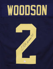 Charles Woodson Michigan Wolverines Signed Autographed Blue #2 Custom Jersey PAAS COA