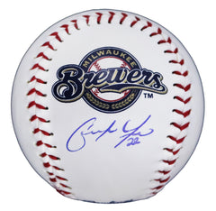 Christian Yelich Milwaukee Brewers Signed Autographed Rawlings Official Major League Logo Baseball Global COA with Display Holder