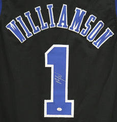 Zion Williamson Duke Blue Devils Signed Autographed Black #1 Custom Jersey PAAS COA