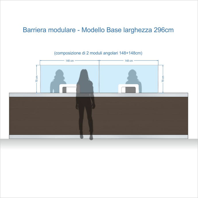 Barriere Parafiato MODULARI per RECEPTION - altezza 70 cm - ANTI-DROPLET.it