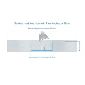 Barriere Parafiato MODULARI per BANCONE - altezza 100 cm - ANTI-DROPLET.it