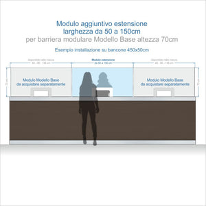 Moduli Estensione per Barriere Parafiato MODULARI per RECEPTION - altezza 70 cm - ANTI-DROPLET.it