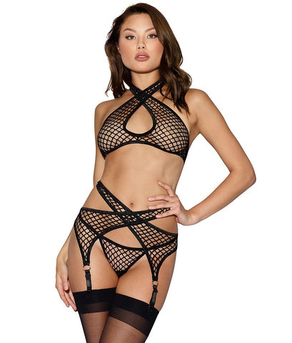 LINGERIE ENSEMBLE FISHNET DREAMGIRL 11037 ONE SIZE