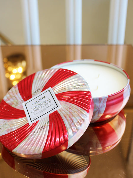Crushed Candy Cane 3 Wick Candle in Decorative Tin 40hr