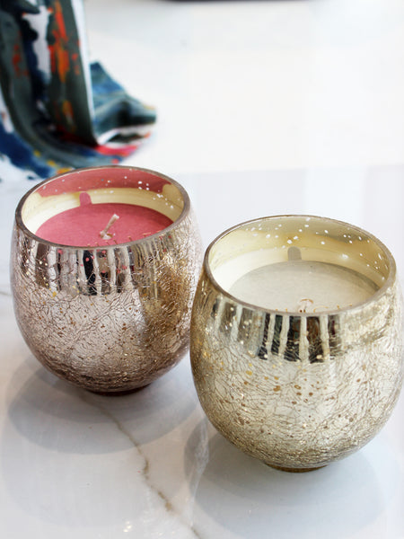 Holiday Crackle Glass Small Candle 80hr