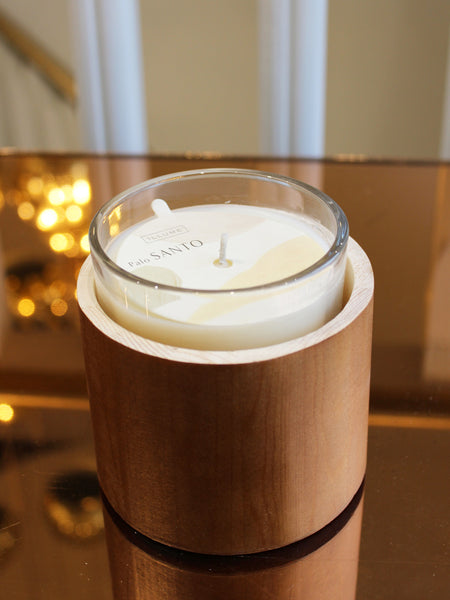 Illume OM Collection Washed Wood Glass Candle 50hrs