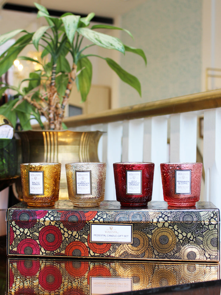 PEDESTAL CANDLE GIFT SET WARM TONES
