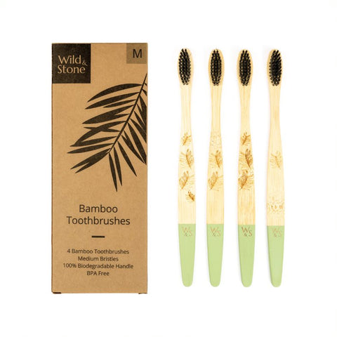 Adult Bamboo Toothbrushes - 4 pack - Medium-Soft Bristles