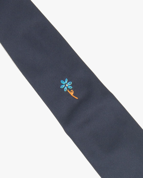Hand Embroidered Navy Silk Tie - Blue Flower