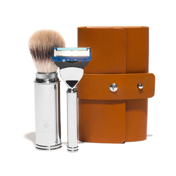 Leather Roll Travel Shave Set