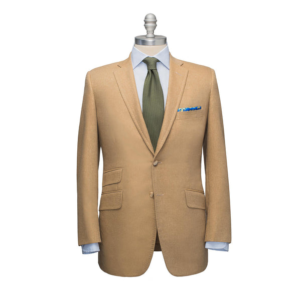 Tan Silk & Linen Sport Coat with Ticket Pocket
