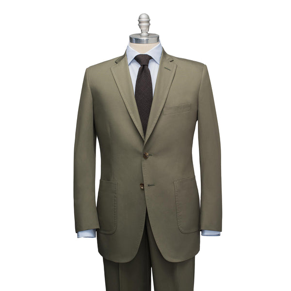Olive Cotton Chino Suit
